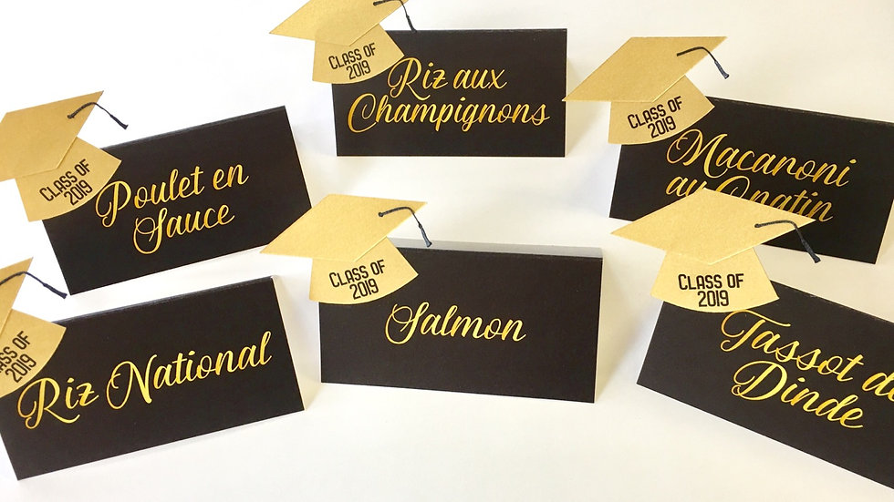 Black and Gold Place Cards with Graduation Hat
