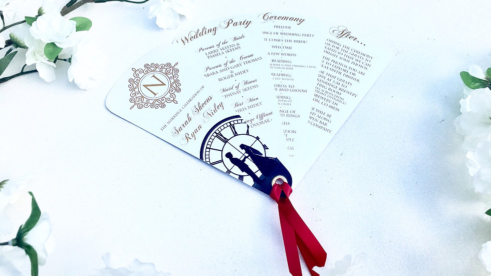 Elaborate Elegance Collection Fan Programs, 4 Petals with Ribbon