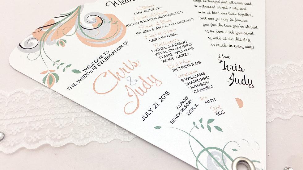 Majestic Swirl Wedding Programs - 3 Petals Without Ribbon