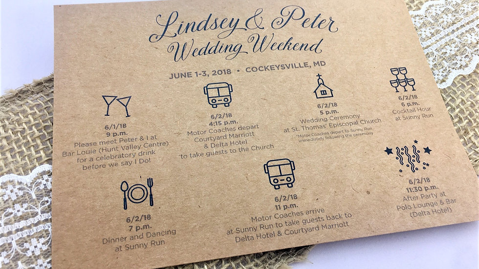 Itinerary Wedding Day or Weekend Cards