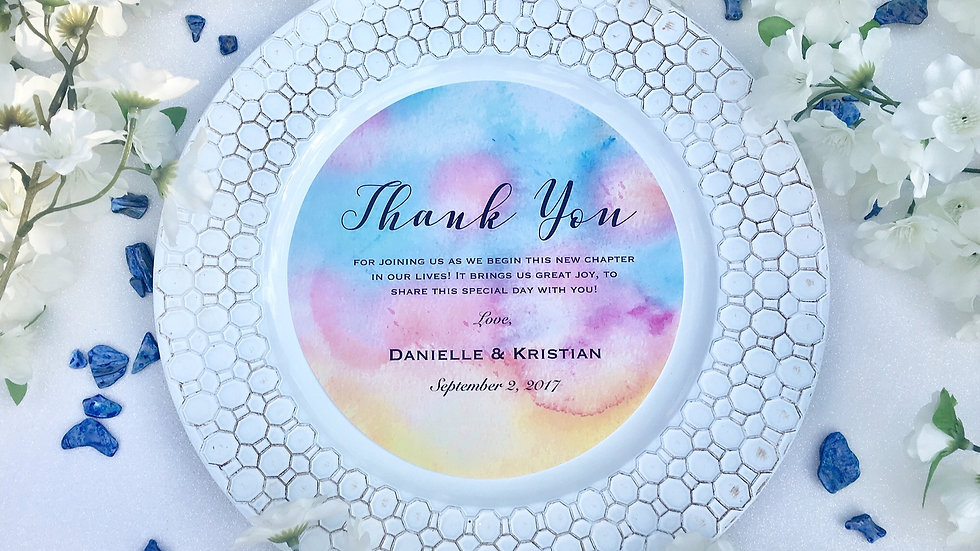 Round Watercolor Thank You Inserts