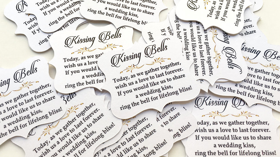 Kissing Bell Tags, Wedding Tags, Wedding Bell Tags