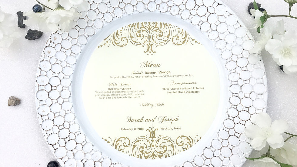 Opulent Lace Collection - Vellum Menu Rounds