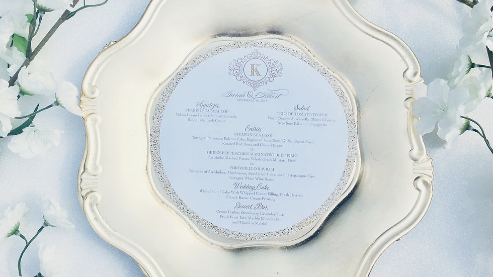 Double Sided Faux Gold Glitter Menus