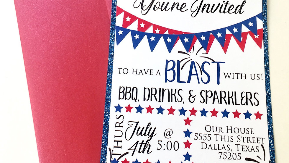 4th of July Invitations with Blue Glitter Simulated Design