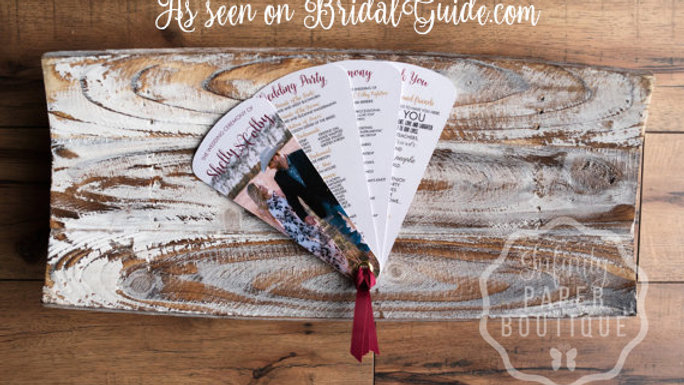 Engagement Picture Fan Programs 4 Petals with Ribbons