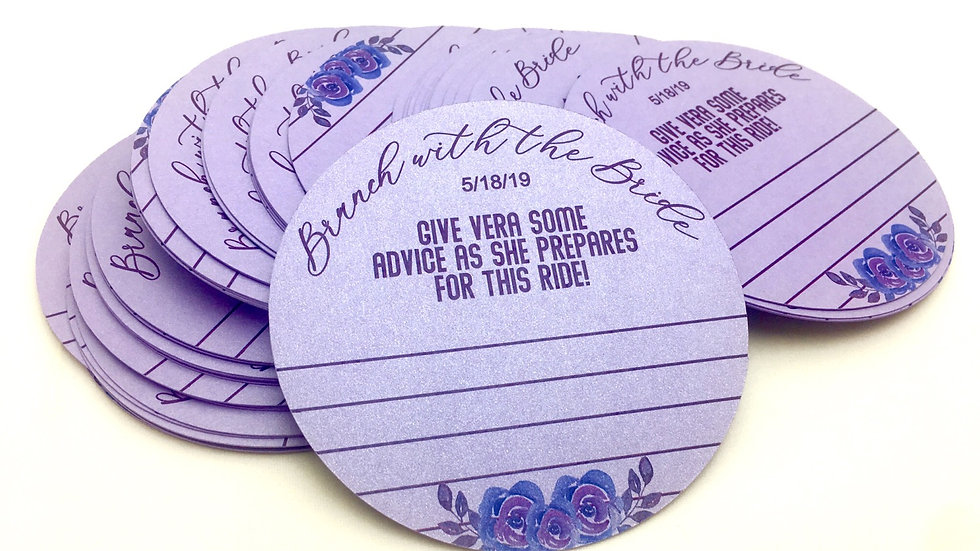 Round Personalized Advice Cards for Bride