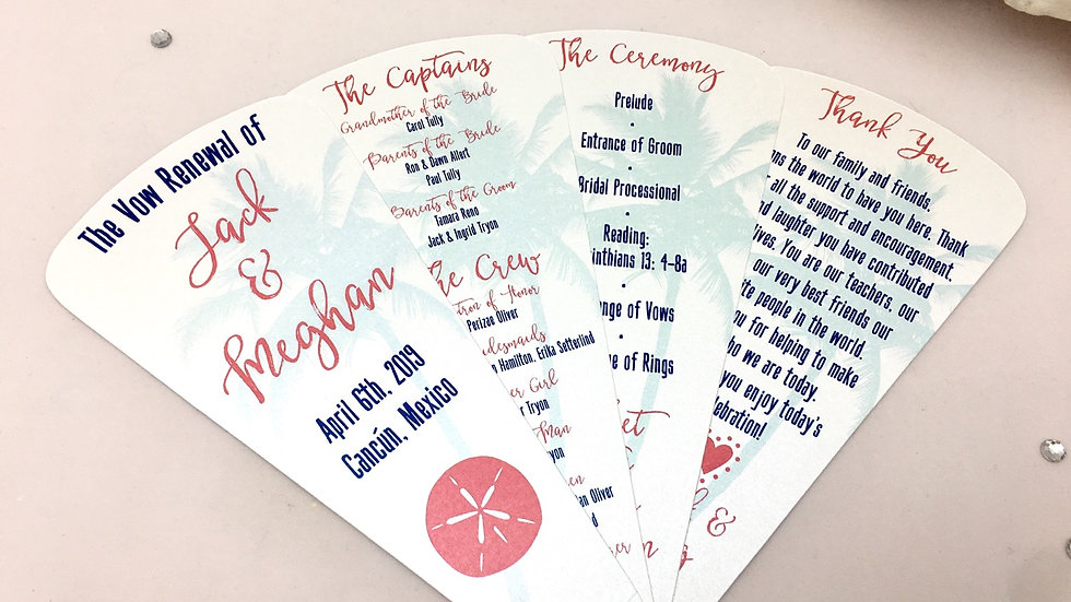 Tropical Getaway Wedding Programs - 4 Petals Without Ribbon
