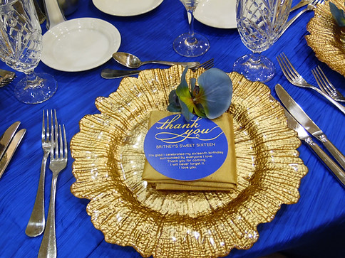 Royal Blue and Gold Round Thank you cards