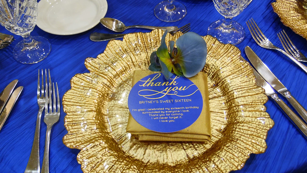 Royal Blue Thank You or Menu Circles