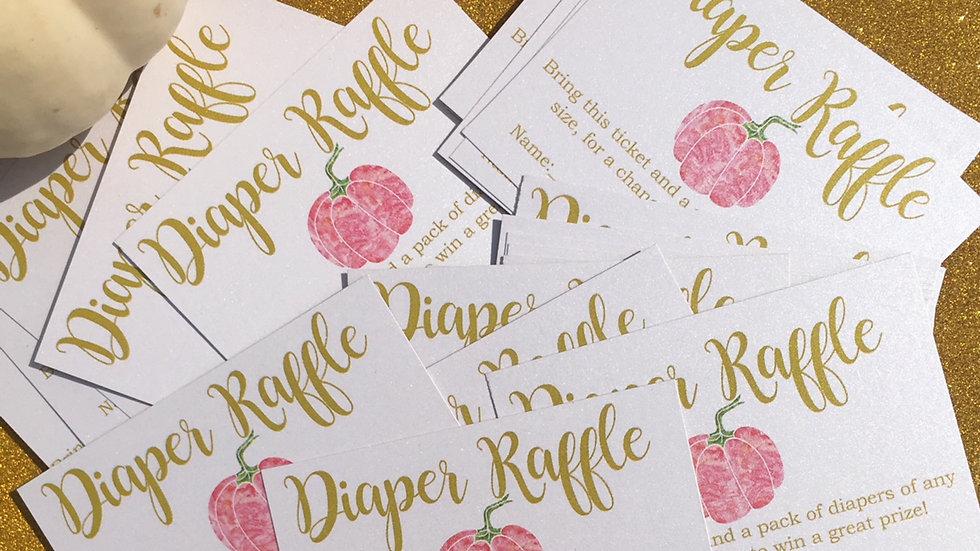 Watercolor Pumpkin Diaper Raffle Tickets
