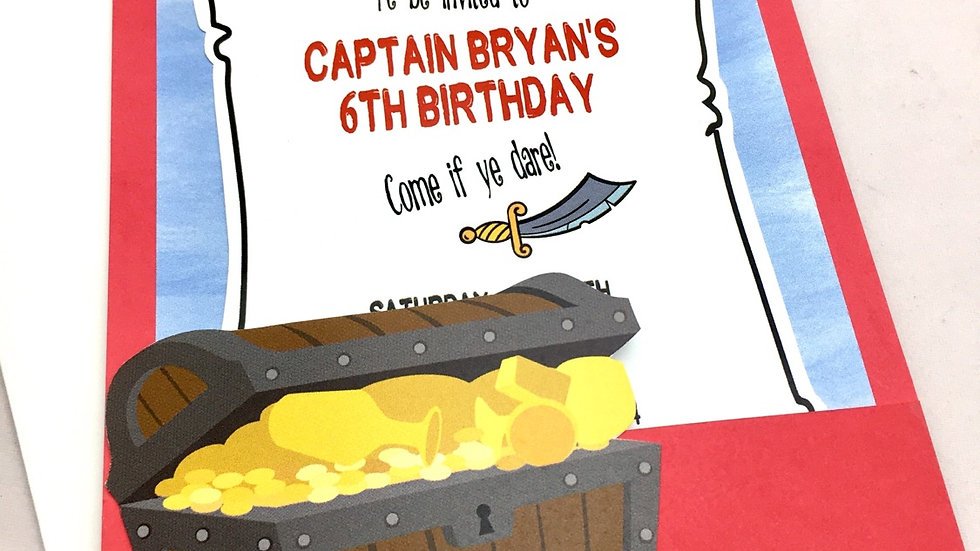 Pirate Themed Pocket Style Invitations, Pirate Party Invites
