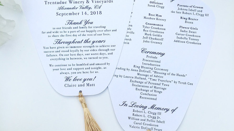 Wedding Programs with Tassels