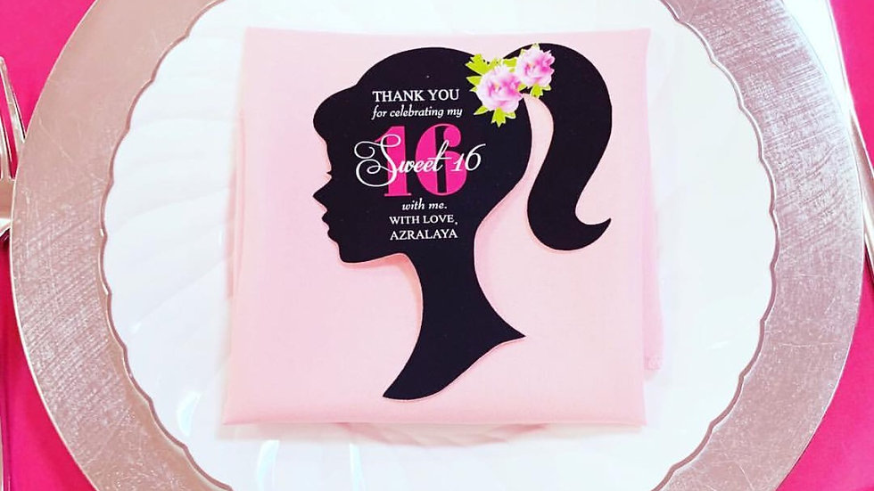 Ponytail Girl Silhouette Thank You Cards or Barbie Invitations