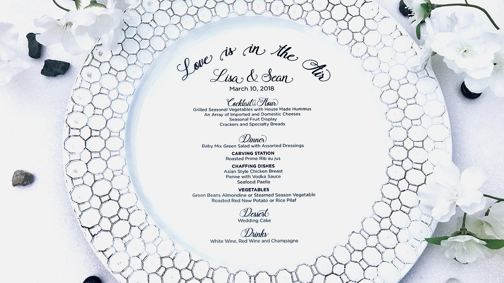 """Love Is In The Air"" Vellum Menu Rounds"