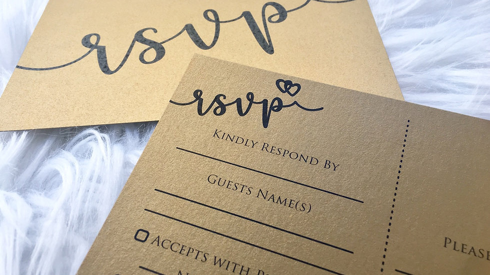 Ready To Go - Antique Gold Postcard Style RSVP Cards