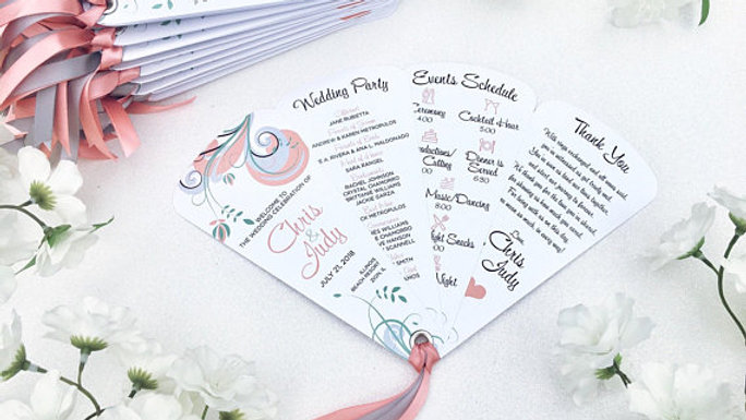 Majestic Swirl Wedding Programs - 4 Petals with Ribbon