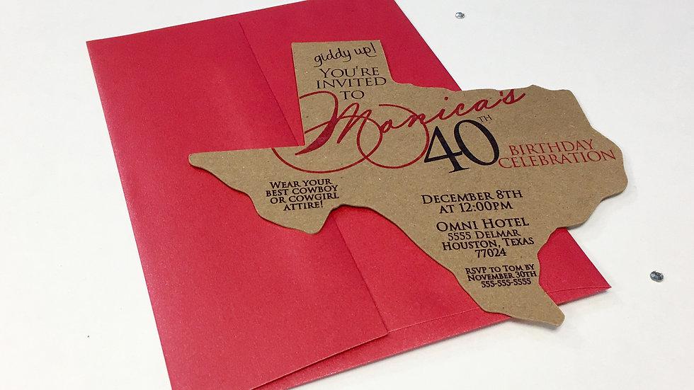 Texas Shaped Invitations, Texas Invites