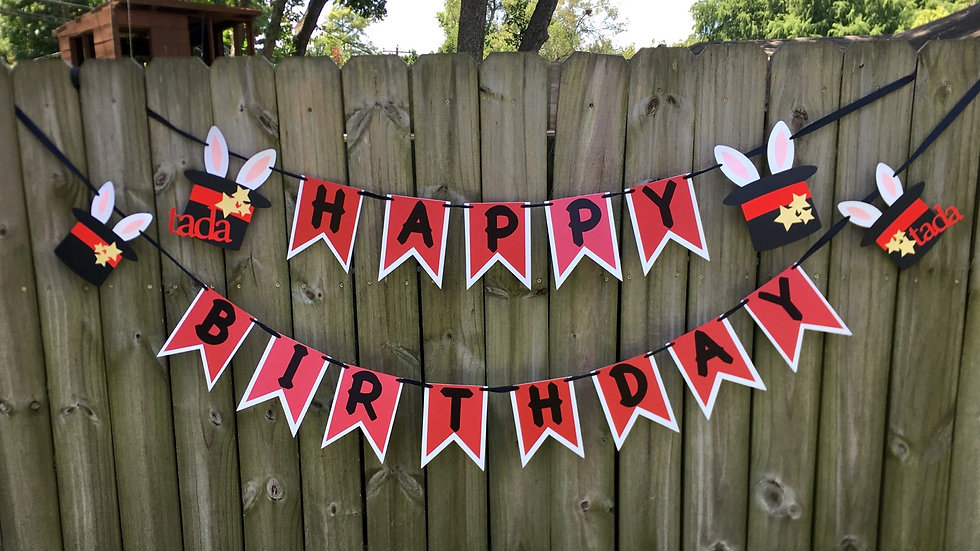 Magic Show Happy Birthday Banner, Magician Theme Party Banner