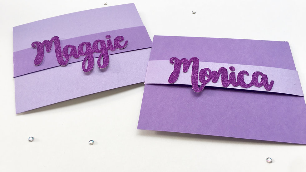 Stationery Cards with Glitter Personalized Name