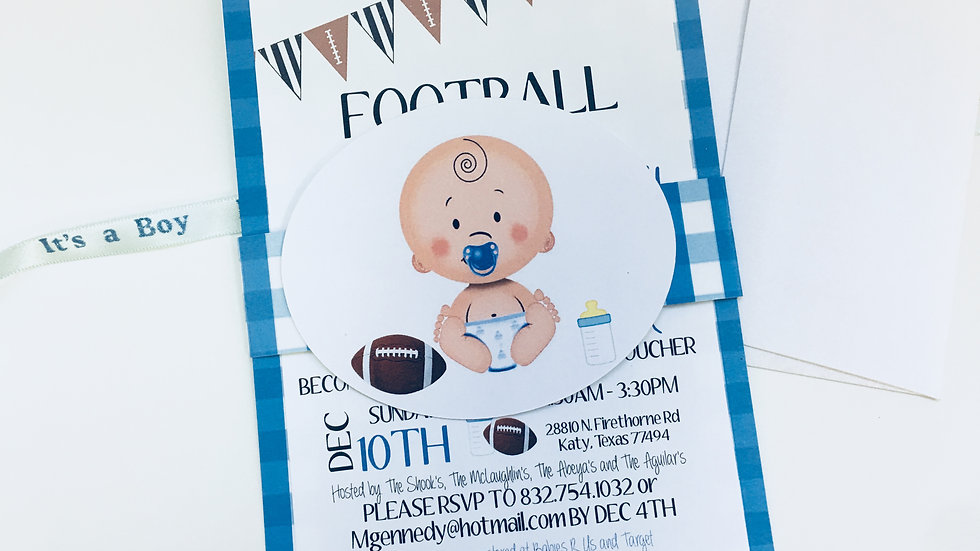 BABY BOY GINGHAM COLLECTION - Football and Babies Baby Shower Invitations