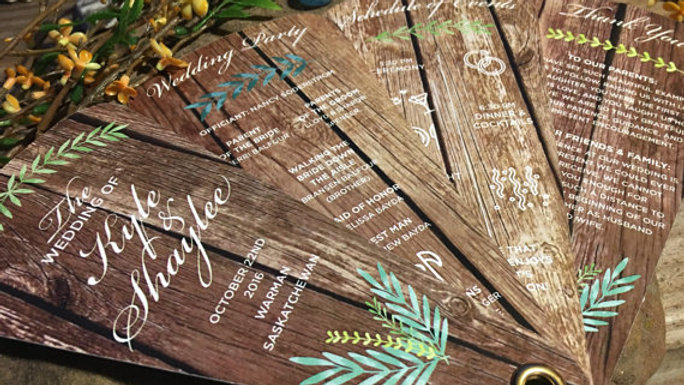 Rustic Barn Wood Fan Programs, 4 Petals without Ribbon Detail