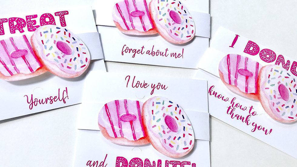 Donut Themed Gift Card Holders - Set of 4