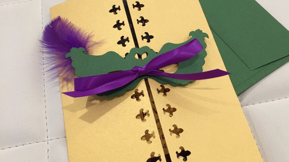 Mardi Gras Themed Masquerade Party Invitations