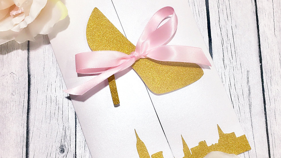 Bride and the City Invitations with Glitter Heels, Gold Glitter Heel Invites