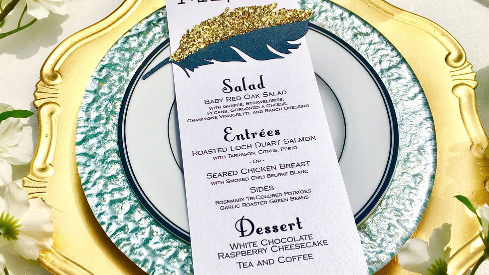 Luxurious Glitter Feather Menu