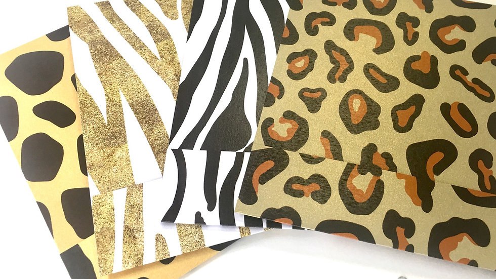 Safari Themed Pocket Card - Zebra, Giraffe, and Leopard Pocket Cards