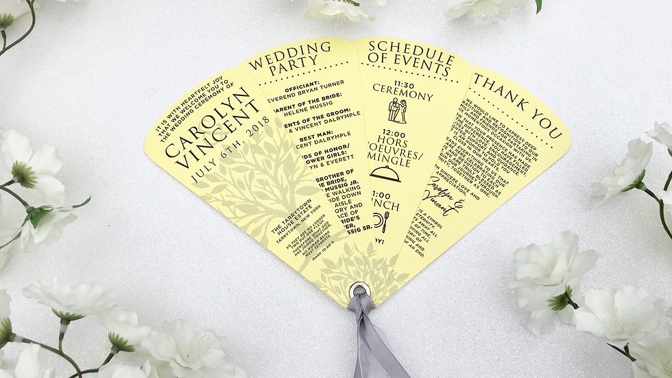 Love Tree Wedding Programs 4 Petals with Ribbons