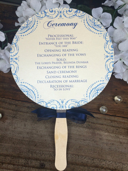 Our Paddle Fan Wedding Programs Are A Wonderful Way To Welcome Your Guests Ceremony And Keep Them Cool At The Same Time