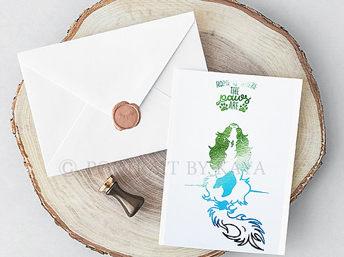 Set of 4 Foil Print Folded Greeting Cards / Best Wishes Cards