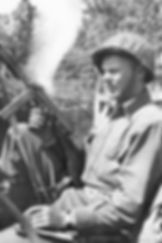 August 6, 1944: Pvt. Edwin L. Larsen (1915-2009) from Anchorage, Alaska, a member of Recon Company, 32nd Armored Regiment.