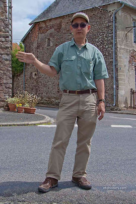 Author and historian Mark Bando at Pont-Brocard, France, explaining the actions of Staff Sergeant James J. Cermak on July 28, 1944. Cermak received the Distinguished Service cross for singlehandedly repelling two enemy attacks, and, in the process, destroying two enemy halftracks and seven motorcycles. Bando was the first author to focus on the pivotal role of the 2nd Armored Division in the Normandy breakout.