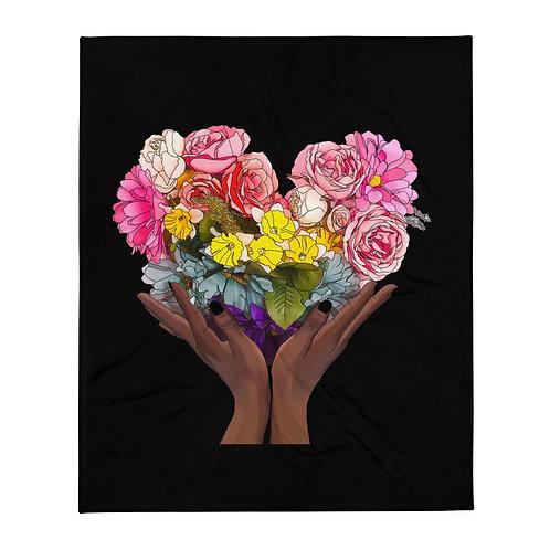 Floral Rainbow Heart Throw Blanket