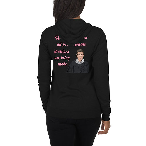 RBG Ruth Bader Ginsburg Quote Unisex zip hoodie