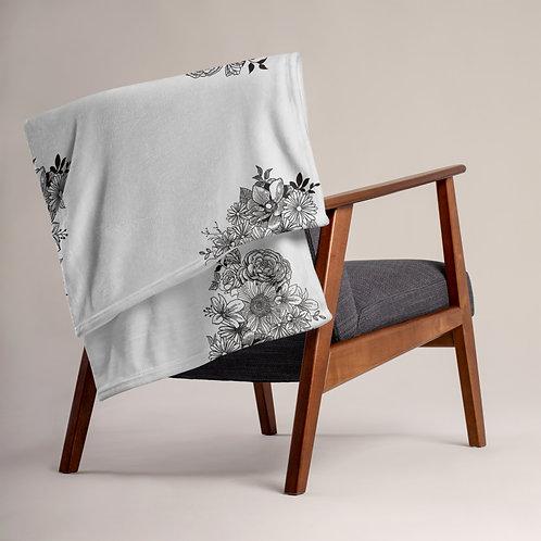 Grey Floral Throw Blanket