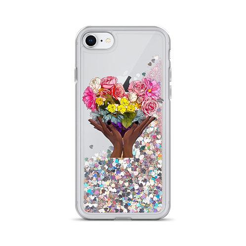 Floral Rainbow Heart Liquid Glitter Phone Case