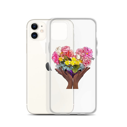 Floral Rainbow Heart iPhone Case