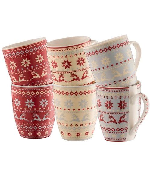 Aynsley Fairisle set of 6 mugs in a hatbox