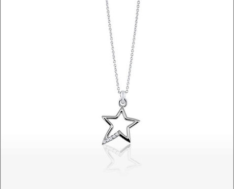 Silver stone set star pendant