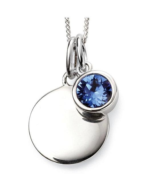 September Birthstone pendant with engravable disc