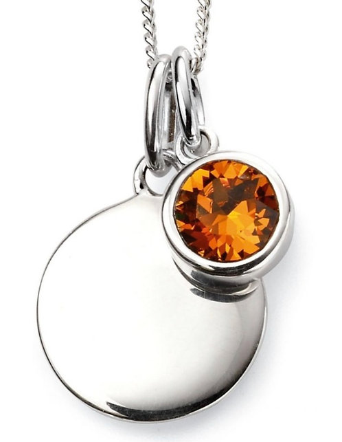 November Birthstone pendant with engravable disc