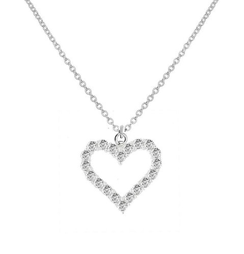 Silver stone set heart pendant