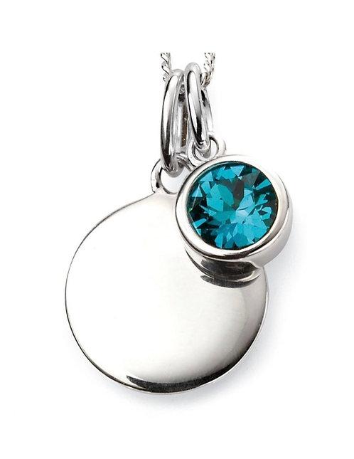 December Birthstone pendant with engravable disc