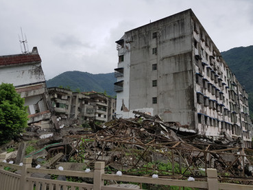Sichuan Earthquake Damaged Buildings Sit