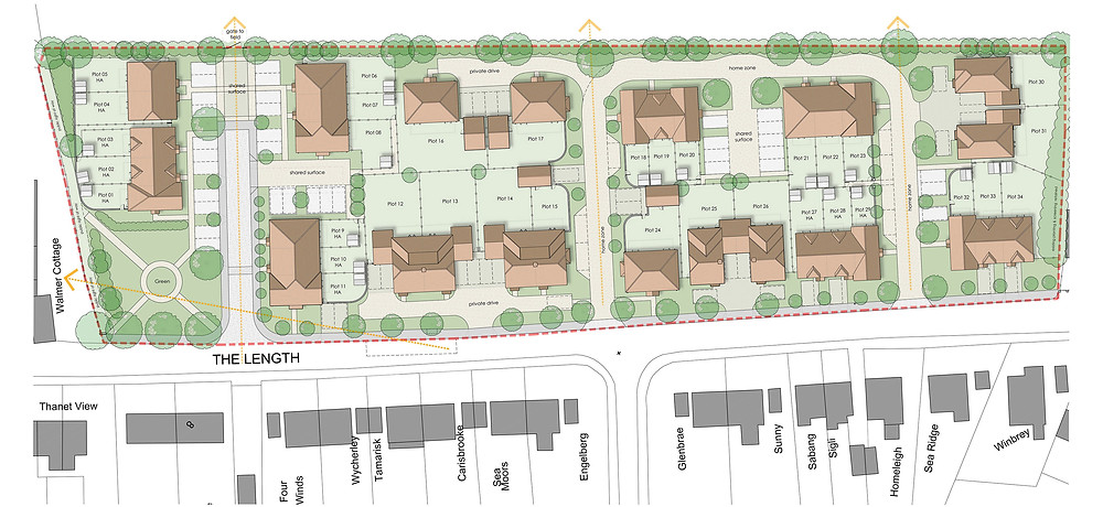 Full planning application for 34 dwellings at The Length, St Nicholas-at-Wade