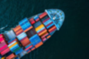 Aerial top view container cargo ship in